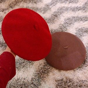 French Style Wool Beret Hat Set of 2